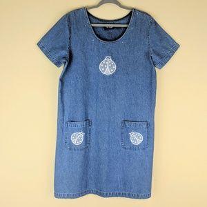 Denim Shift Dress Embroidered Ladybug Medium